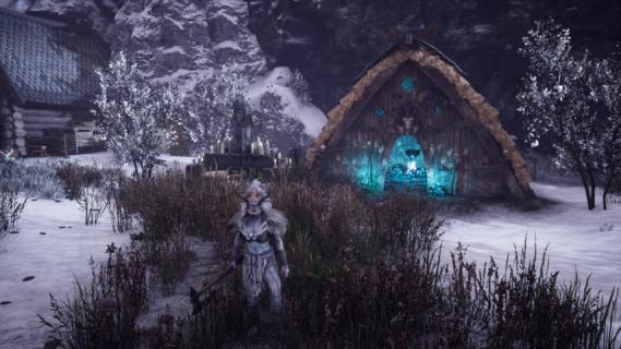 Viveka in front of seer hut