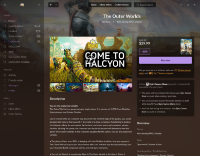 GOG GALAXY store The Outer Worlds